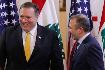 U.S. Secretary of State Mike Pompeo and Lebanese Foreign Minister Gebran Bassil react, in Beirut, Lebanon March 22, 2019, after a public statement in Beirut, Lebanon, Friday, March 22, 2019. (Jim ...
