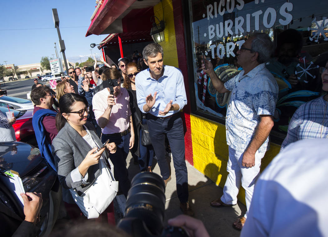 Democratic presidential candidate and former Texas congressman Beto O'Rourke greets supporters during a campaign stop at Arandas Taqueria in Las Vegas on Sunday, March 24, 2019. (Chase Stevens/Las ...
