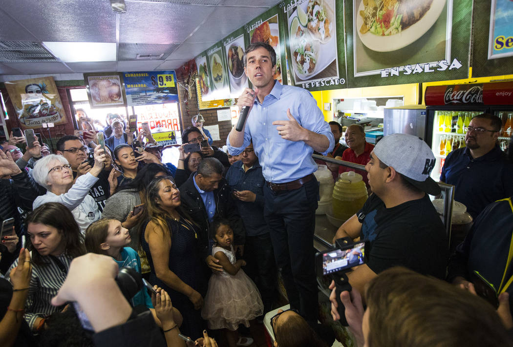 Democratic presidential candidate and former Texas congressman Beto O'Rourke addresses attendees during a campaign stop at Arandas Taqueria in Las Vegas on Sunday, March 24, 2019. (Chase Stevens/L ...