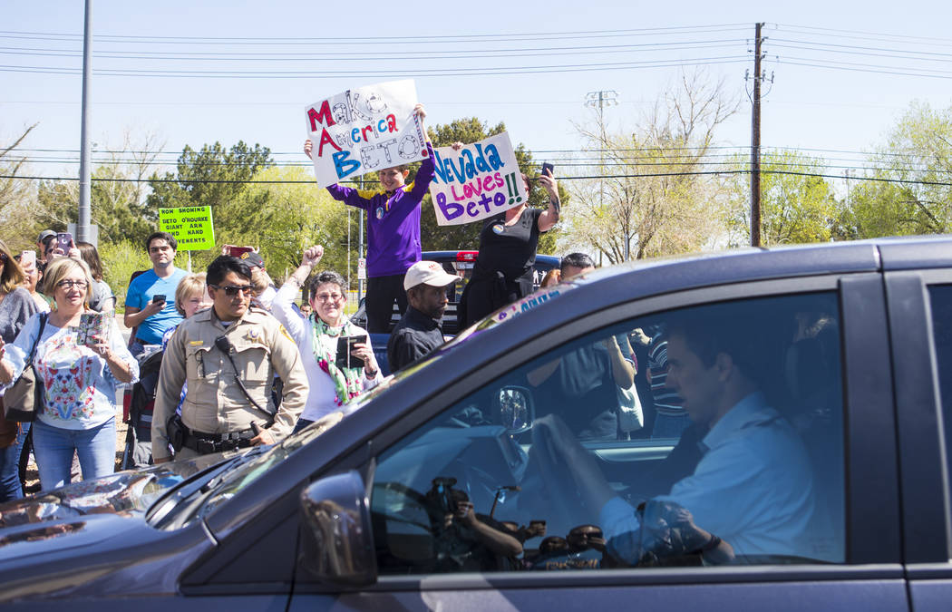 Democratic presidential candidate and former Texas congressman Beto O'Rourke arrives at a campaign stop at Pour Coffeehouse in Las Vegas on Sunday, March 24, 2019. (Chase Stevens/Las Vegas Review- ...