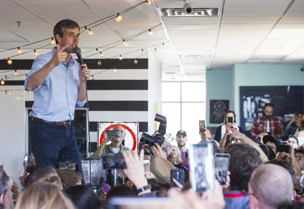 Democratic presidential candidate and former Texas congressman Beto O'Rourke speaks during a campaign stop at Pour Coffeehouse in Las Vegas on Sunday, March 24, 2019. (Chase Stevens/Las Vegas Revi ...