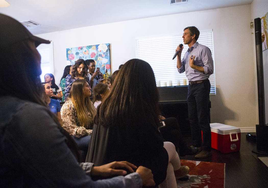 Democratic presidential candidate and former Texas congressman Beto O'Rourke speaks during a meet and greet event with the Mujeres Network in west Las Vegas on Sunday, March 24, 2019. (Chase Steve ...