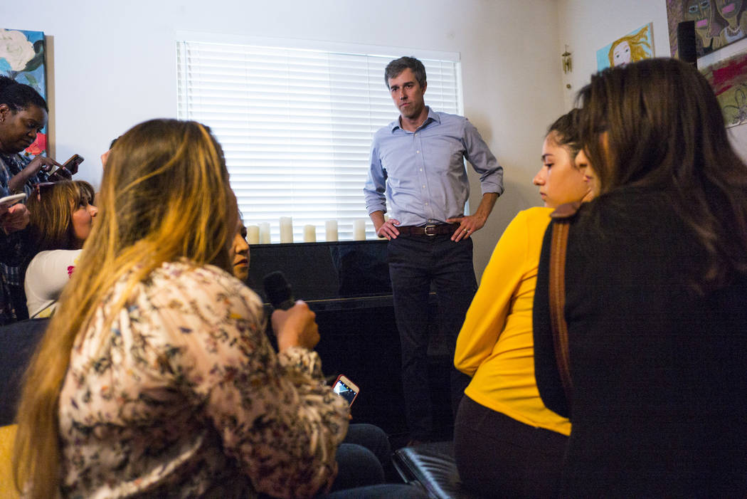 Democratic presidential candidate and former Texas congressman Beto O'Rourke, right, listens to a question from Karla Garcia during a meet and greet event with the Mujeres Network in west Las Vega ...