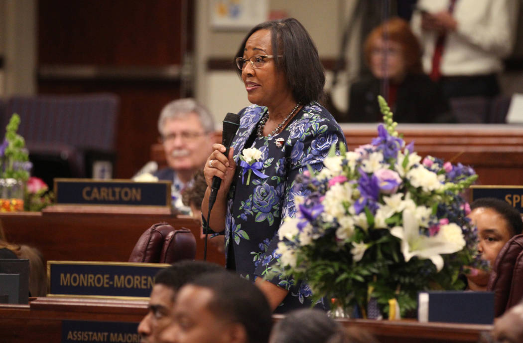 Assemblywoman Daniele Monroe-Moreno, D-North Las Vegas, speaks on the Assembly floor in the Legislative Building in Carson City on the first day of the 80th session of the Nevada Legislature Monda ...