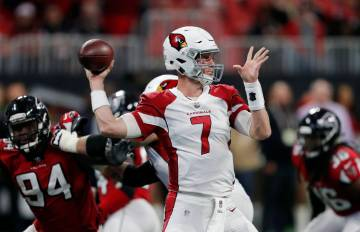Arizona Cardinals quarterback Mike Glennon (7) throws from the pocket during the second half of an NFL football game against the Atlanta Falcons, Sunday, Dec. 16, 2018, in Atlanta. (AP Photo/Mike ...
