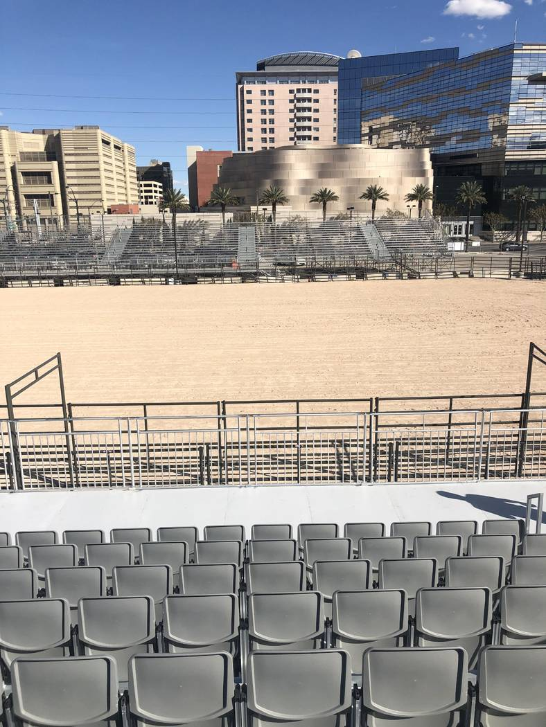 A look at the setup at Core Arena at the Plaza, the site of Casino Battle Royal Demolition Derby, set for March 29-30. (Jonathan Jossel)