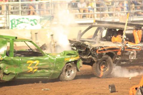 A shot of the high-collision action at a Stirrin' Dirt Racing event. The demolition derby is debuting March 29-30 at the Plaza in downtown Las Vegas. (Stittin' DIrt Racing)