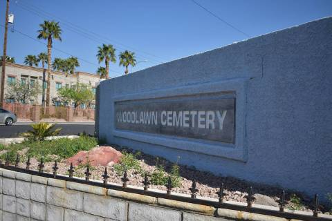 The Woodlawn cemetery sign at the entrance off Las Vegas Boulevard on Monday, March 25. Rachel Spacek/Las Vegas Review-Journal @RachelSpacek