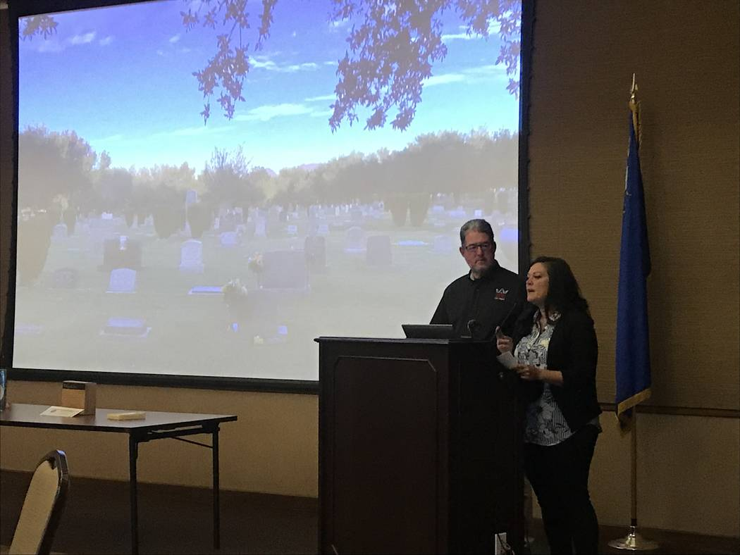 """Rosalie Lidard and Mitch Cohen, volunteers with the Nevada Preservation Foundation, present """"the story of Woodlawn"""" at a Friends of the Nevada State Museum meeting at the museum last Thursday. Rac ..."""