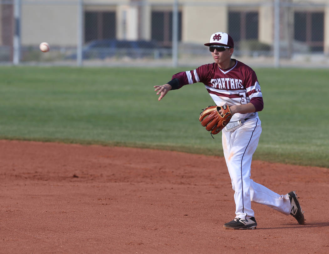 Cimarron-Memorial infielder Andrew Johnson (3) throws to first for an out against Silverado in the third inning of their baseball game at Cimarron-Memorial High School in Las Vegas Friday, March 2 ...