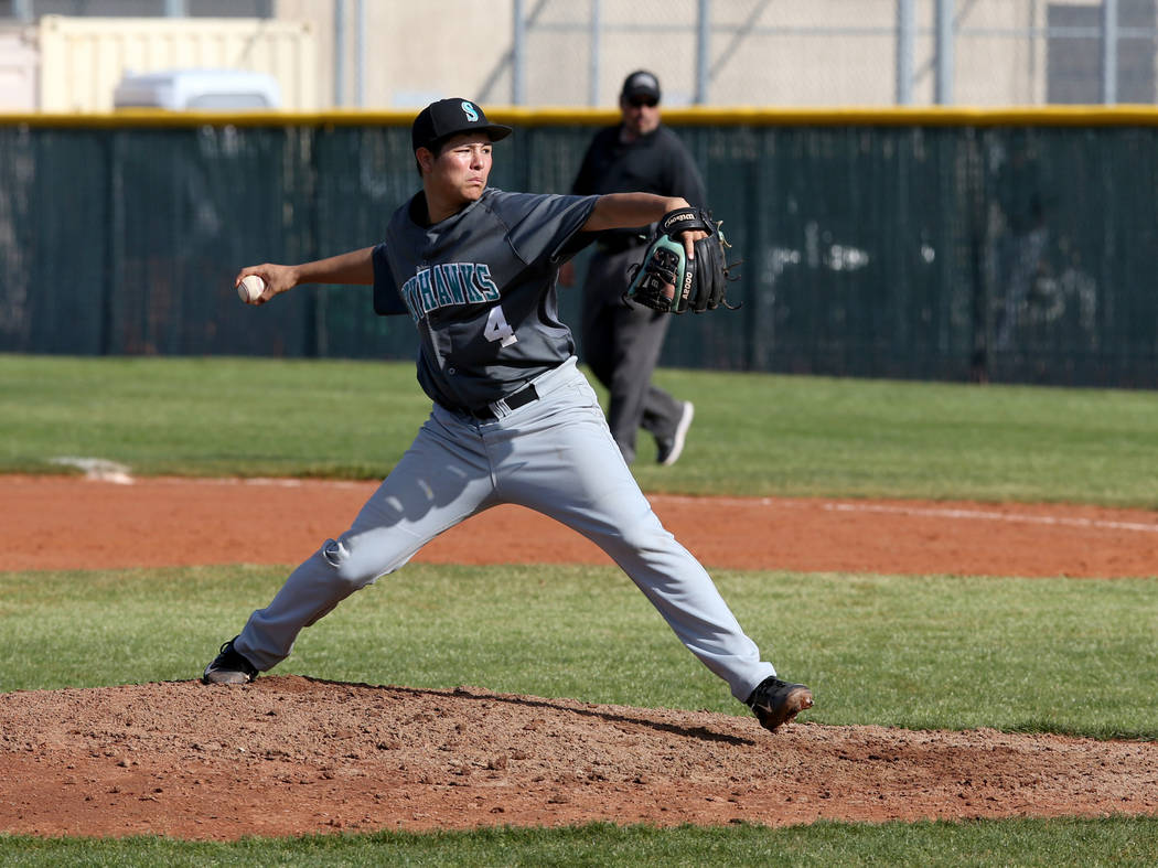 Silverado pitcher Angel Garcia (4) throws against Cimarron-Memorial in the third inning of their baseball game at Cimarron-Memorial High School in Las Vegas Friday, March 22, 2019. (K.M. Cannon/La ...
