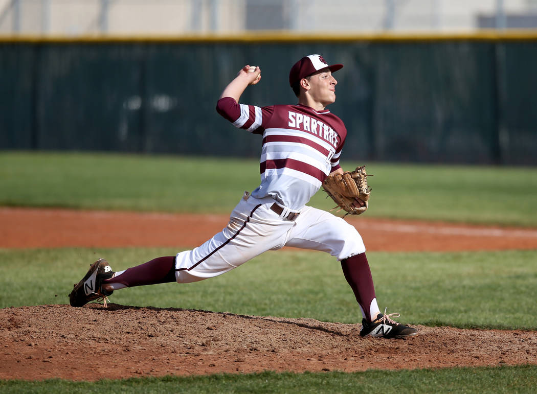 Cimarron-Memorial pitcher Elie Kligman (4) throws against Silverado in the fourth inning of their baseball game at Cimarron-Memorial High School in Las Vegas Friday, March 22, 2019. (K.M. Cannon/L ...