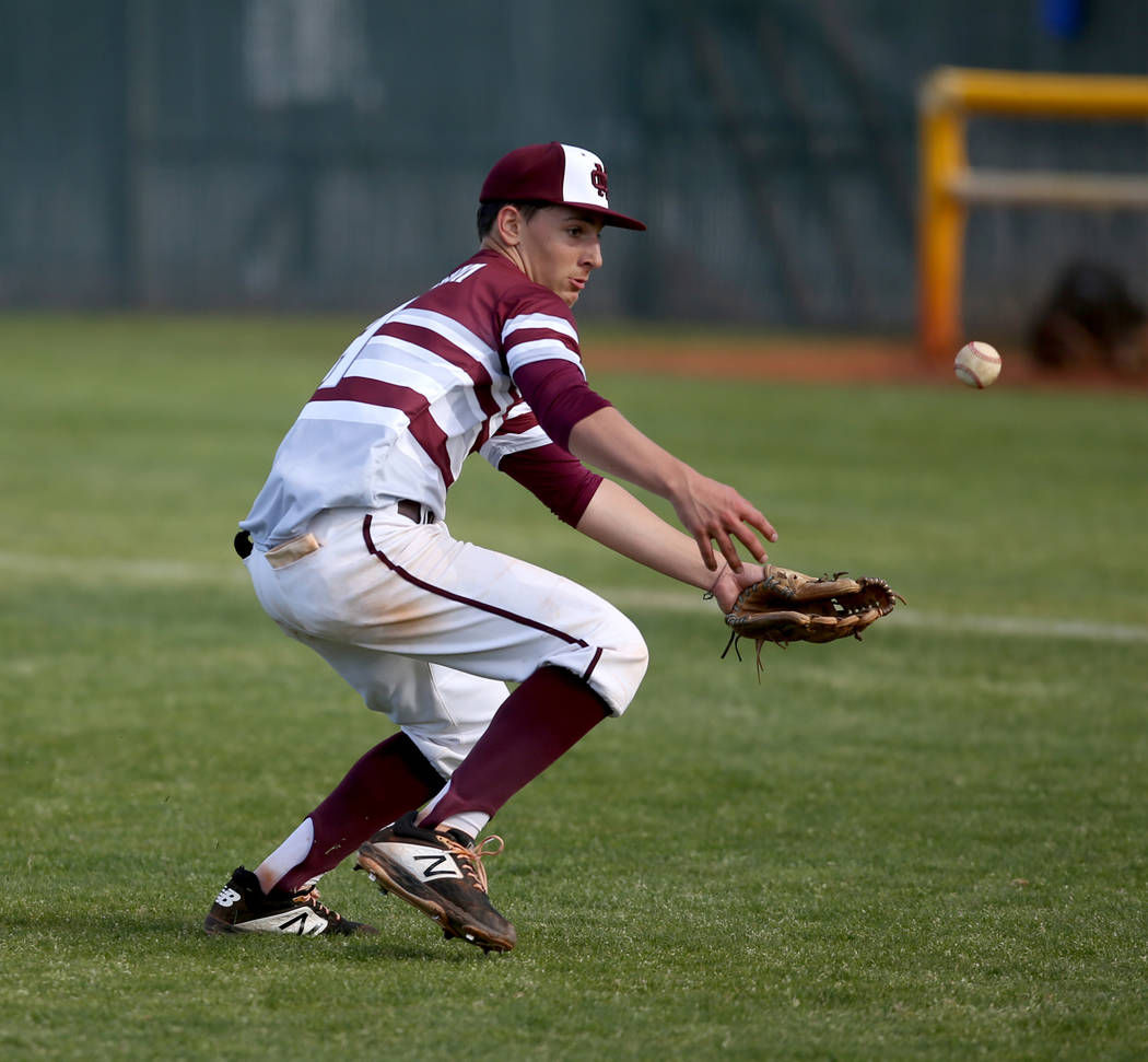 Cimarron-Memorial pitcher Elie Kligman (4) bobbles a Silverado bunt in the fourth inning of their baseball game at Cimarron-Memorial High School in Las Vegas Friday, March 22, 2019. (K.M. Cannon/L ...