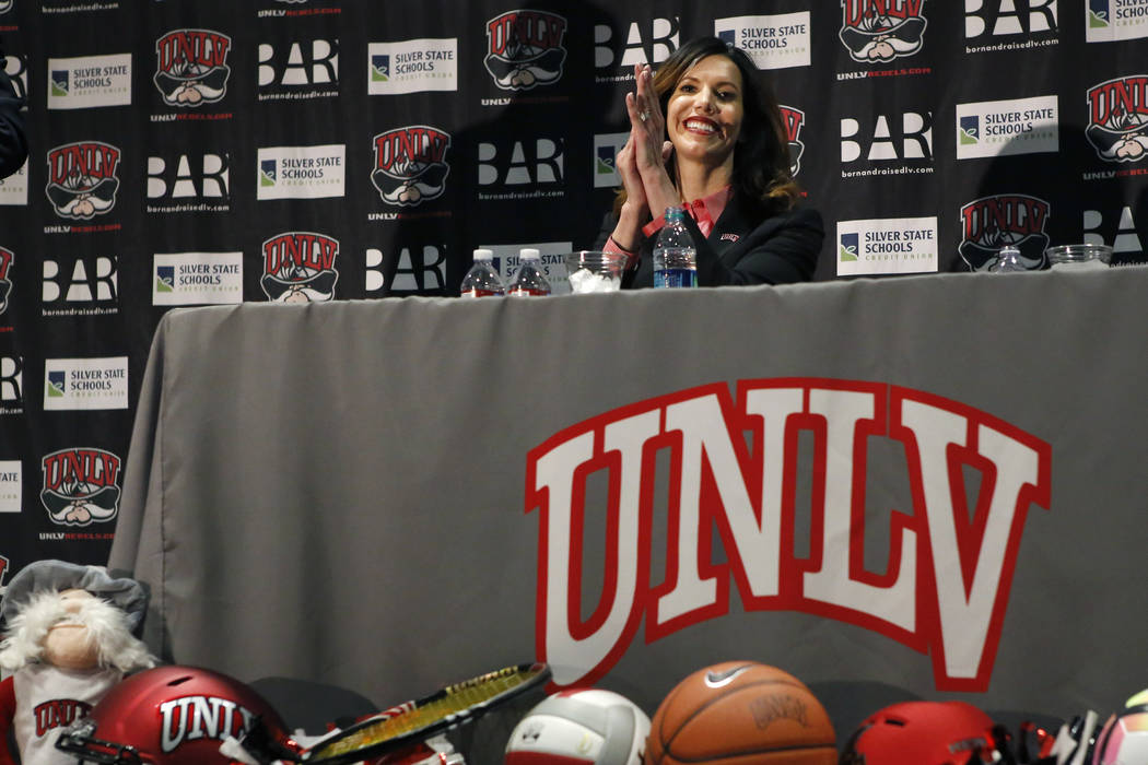 UNLV's new athletic director Desiree Reed-Francois at the Thomas & Mack Center during a press conference on Tuesday, April 18, 2017, in Las Vegas. Christian K. Lee Las Vegas Review-Journal @ch ...
