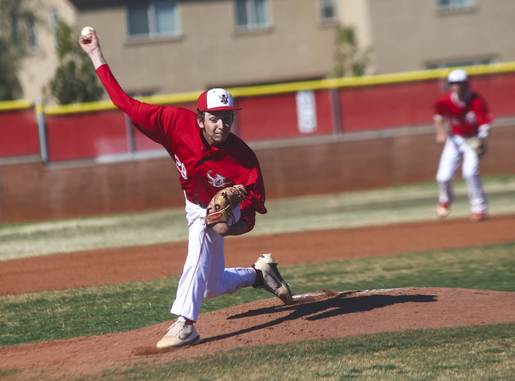 Arbor View's Brennan Holligan (29) pitches to Las Vegas during a baseball game at Arbor View Hi ...