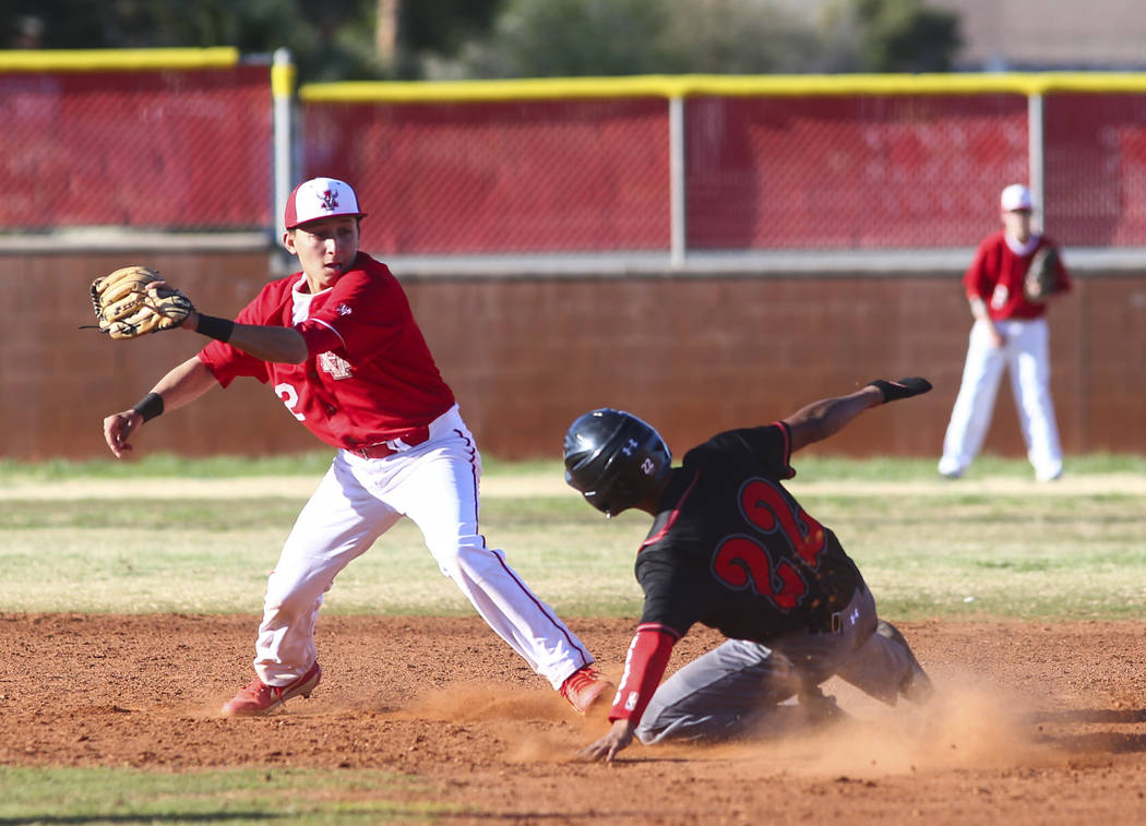 Las Vegas' Layne Adaro (22) gets tagged out by Arbor View's Nicholas Cornman (2) during a baseb ...