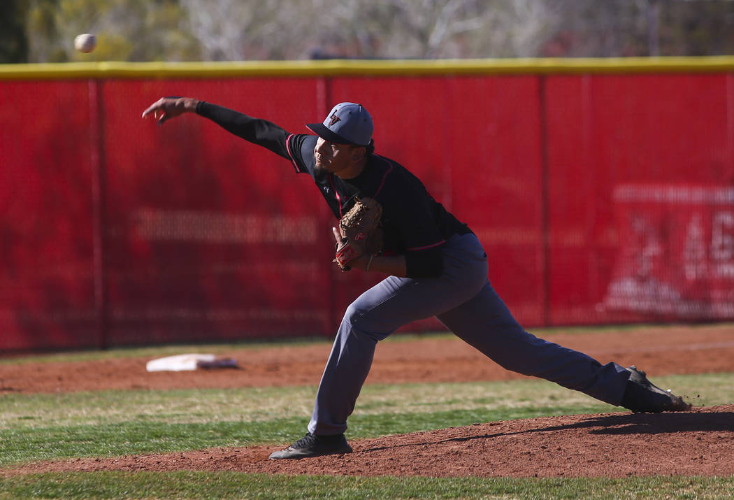 Las Vegas' pitcher Brady Ojeda (18) pitches against Arbor View during a baseball game at Arbor ...