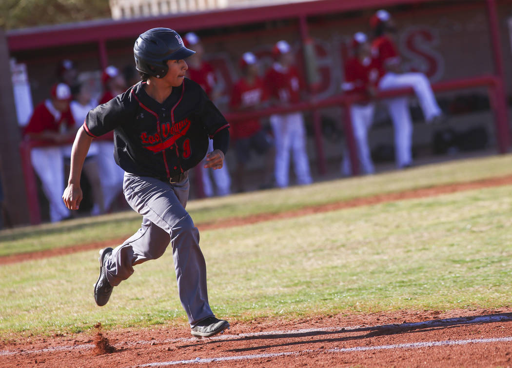 Las Vegas' Jose Martinez (9) runs to first base during a baseball game at Arbor View High Schoo ...