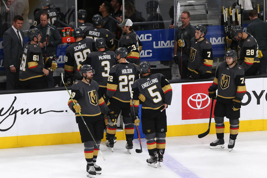 Vegas Golden Knights leave the ice after losing 3-2 during overtime against the Detroit Red Wings in an NHL hockey game at T-Mobile Arena in Las Vegas, Saturday, March 23, 2019. Erik Verduzco Las ...