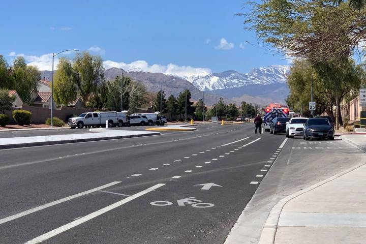 The Metropolitan Police Department is investigating a barricade situation in the northwest valley Saturday afternoon. (Jessica Terrones/Las Vegas Review-Journal)