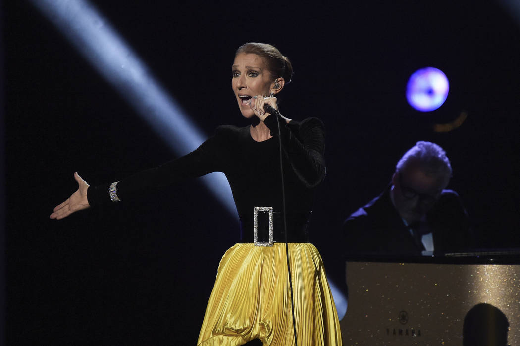 "In this Sunday, Jan. 13, 2019, file photo, Celine Dion performs at the ""Aretha! A Grammy Celebration For The Queen Of Soul"" event at the Shrine Auditorium in Los Angeles. The special is set to air ..."