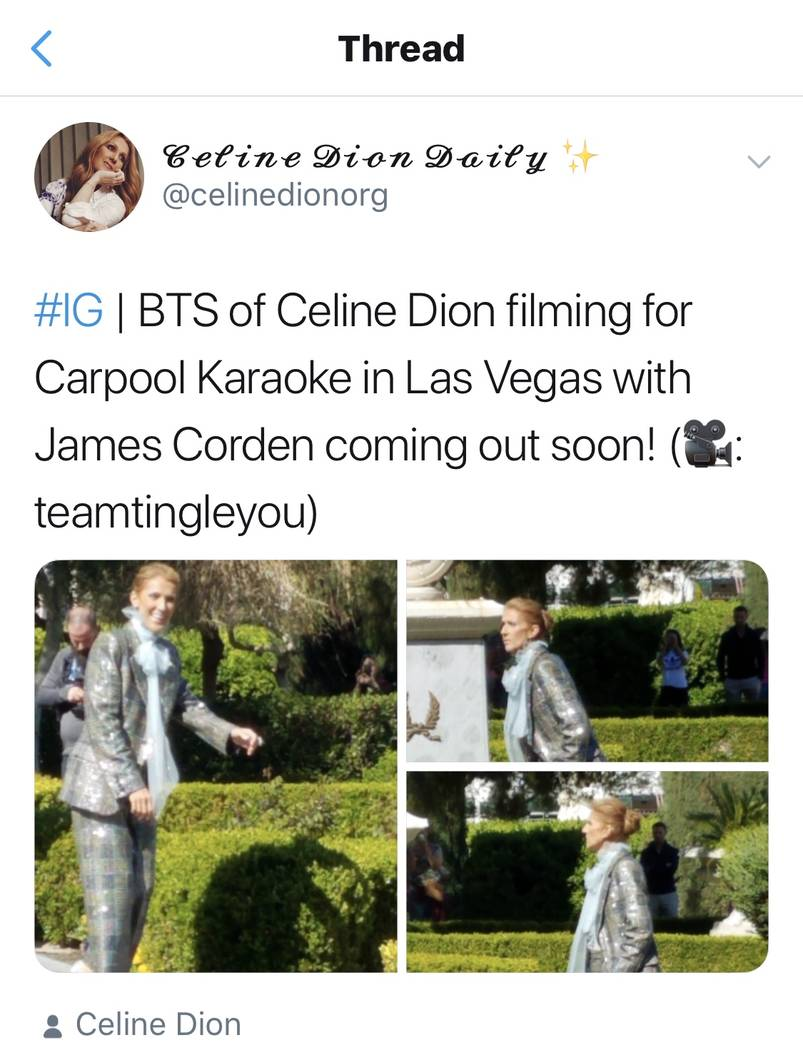 "Celine Dion is shown during a break in taping a segment of Carpool Karaoke during ""The Late Late Show With James Corden"" at Lake Bellagio The two recorded in Las Vegas and on Lake Bellagio on Frid ..."