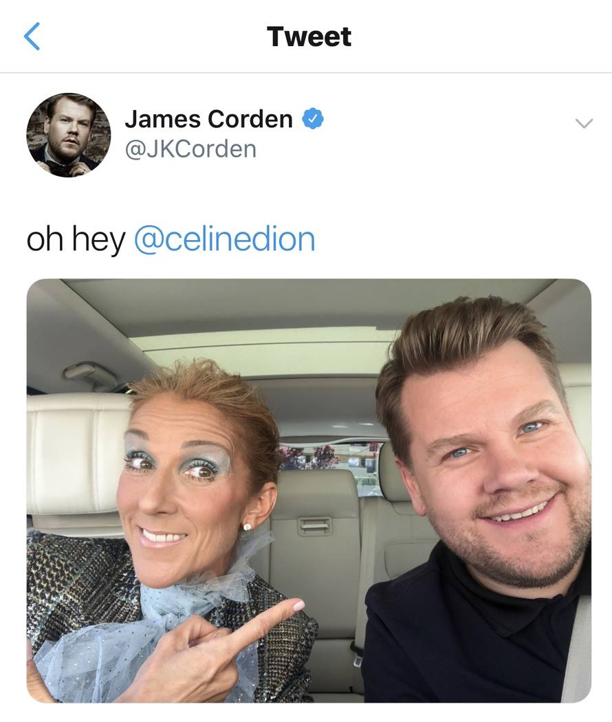 Celine Dion and James Corden are shown taping a segment of Carpool Karaoke on Corden's Twitter page. The two recorded in Las Vegas and on Lake Bellagio on Friday, March 22, 2019. (@JamesCorden)