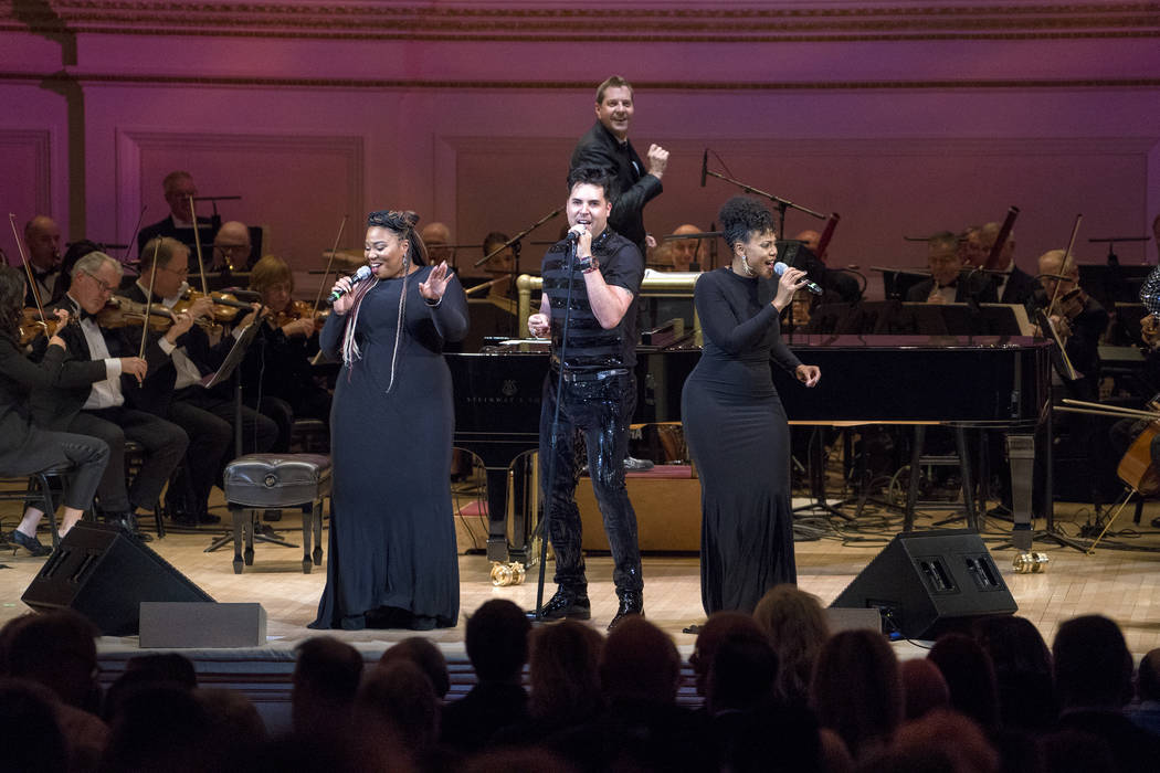 "Frankie Moreno performs with the New York Pops during ""Roll Over Beethoven: A Different Kind of Orchestra"" on Friday, October 19, 2018, at Carnegie Hall in New York. Steven Reineke is the music d ..."
