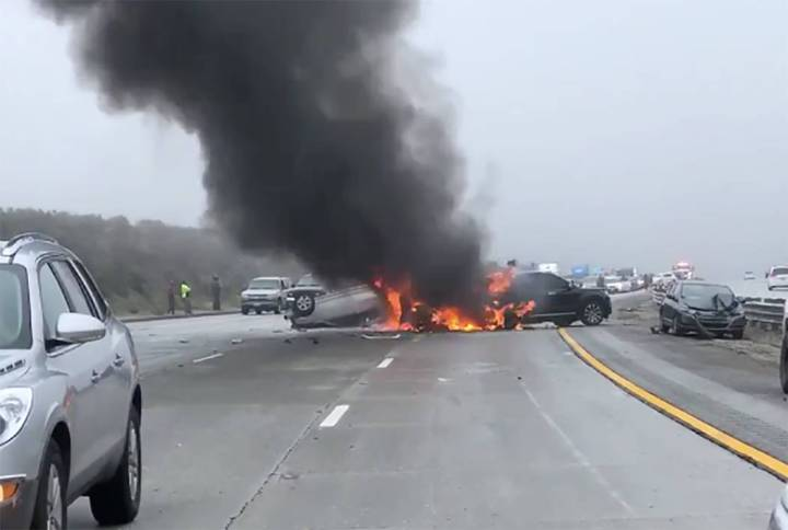 Several crashes involving about 50 vehicles tied up Interstate 5 north of Los Angeles on Saturday, March 23, 2019. (Jen Hughes/Twitter)