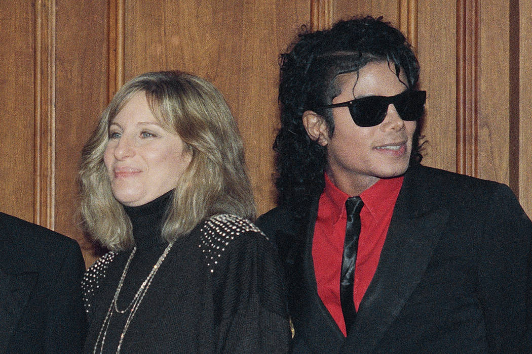 FILE - In this Dec. 14, 1986, file photo, singers Barbra Streisand and Michael Jackson attend the Scopus Awards of the American Friends of the Hebrew University ceremony in Los Angeles. Streisand ...