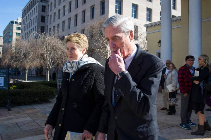 Special Counsel Robert Mueller, and his wife Ann, depart St. John's Episcopal Church, across from the White House, in Washington, Sunday, March 24, 2019. Mueller closed his long and contentious Ru ...