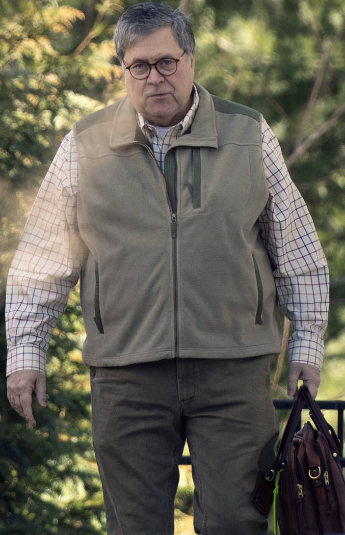Attorney General William Barr leaves his home in McLean, Va., on Sunday morning, March 24, 2019. Barr is preparing a summary of the findings of the special counsel investigating Russian election i ...