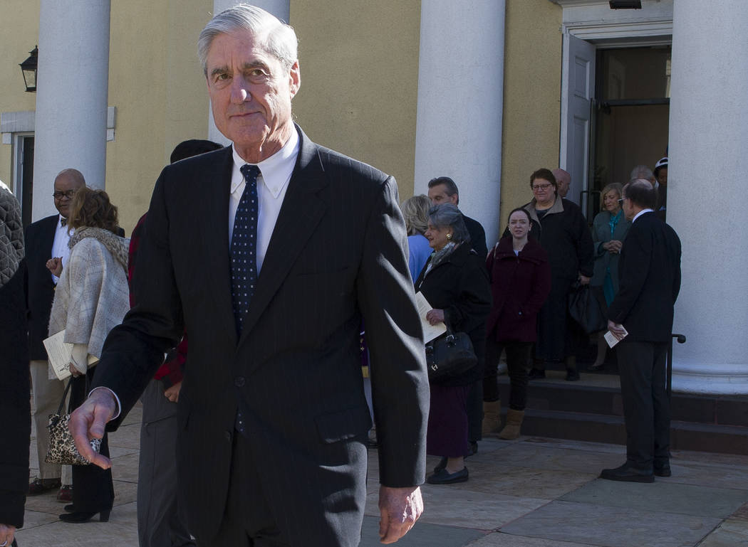 Special Counsel Robert Mueller departs St. John's Episcopal Church, across from the White House, after attending morning services, in Washington, Sunday, March 24, 2019. Mueller closed his long an ...