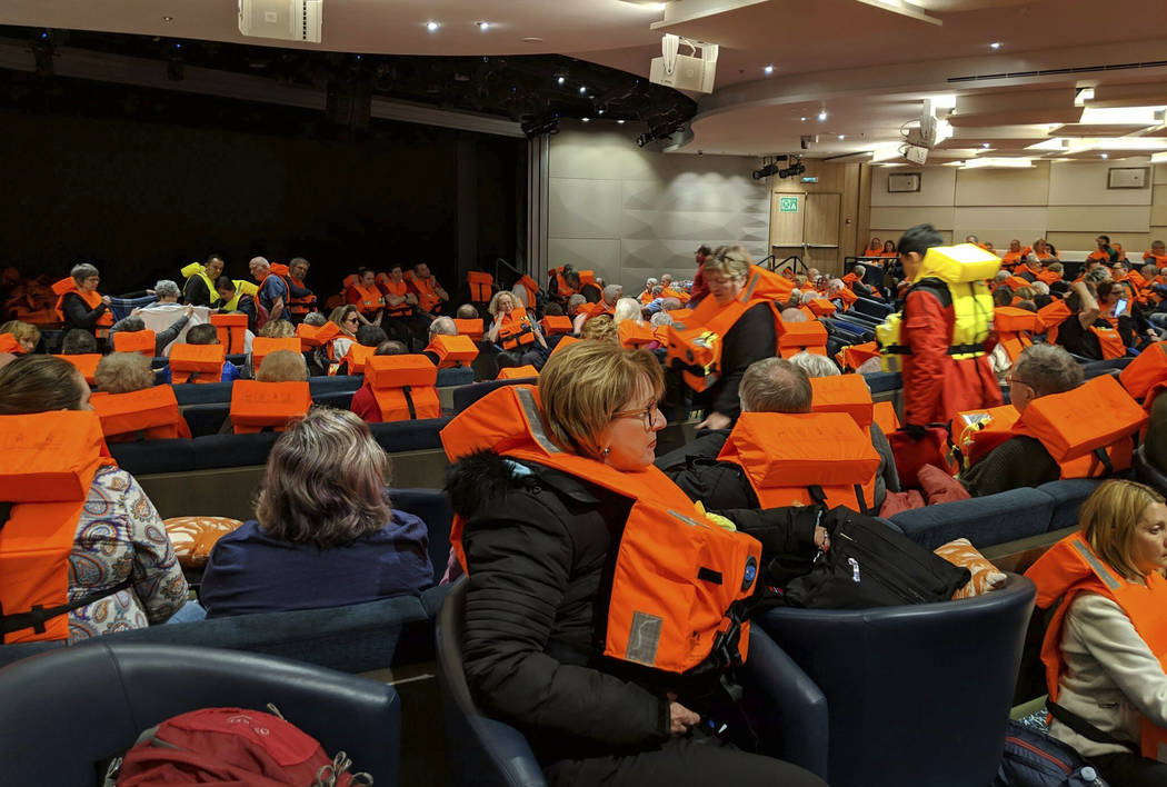 This photo provided by Michal Stewart shows passengers on board the Viking Sky, waiting to be evacuated, off the coast of Norway on Saturday, March 23, 2019. Rescue workers off Norway's western co ...