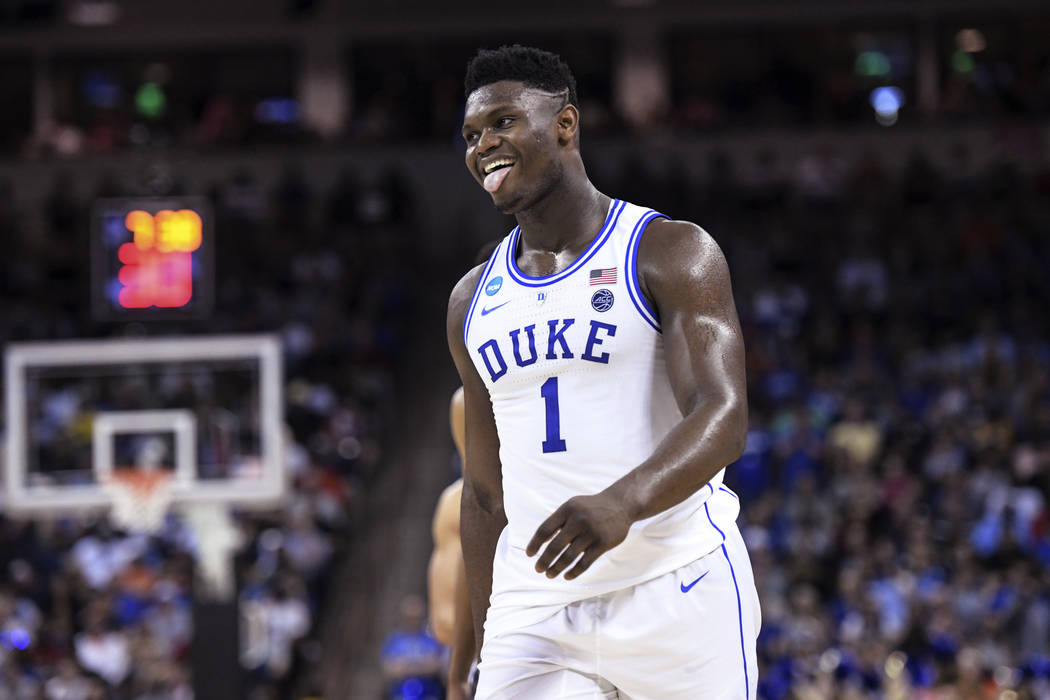 Duke forward Zion Williamson reacts after getting called for a foul against Central Florida during the second half of a second-round game in the NCAA men's college basketball tournament Sunday, Ma ...