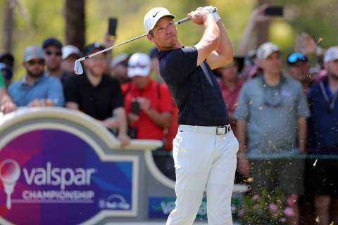 Paul Casey tees off on the second hole during the final round of the Valspar Championship golf tournament Sunday, March 24, 2019, in Palm Harbor, Fla. (AP Photo/Mike Carlson)