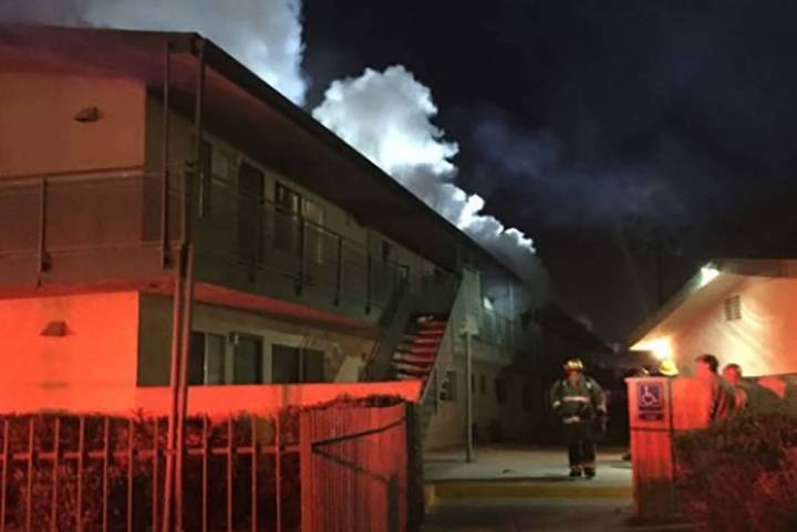 The Las Vegas Fire Department responded to an early Monday, March 25, 2019, fire at an apartment complex on Charleston Boulevard. (Las Vegas Fire and Rescue)