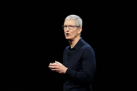 In this June 4, 2018 file photo, Apple CEO Tim Cook speaks during an announcement of new products at the Apple Worldwide Developers Conference in San Jose, Calif. Apple is expected to announce Mon ...