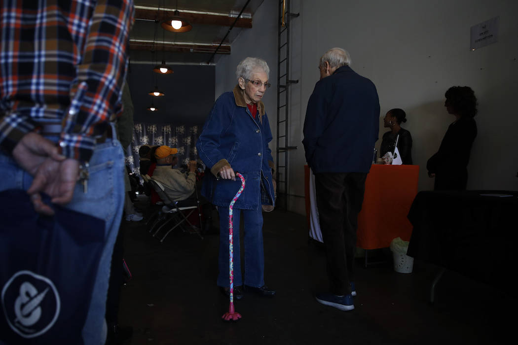 In this Feb. 19, 2019 photo, a group of retired seniors from Laguna Woods Village attend a presentation organized by cannabis product vendors at Bud and Bloom cannabis dispensary in Santa Ana, Cal ...