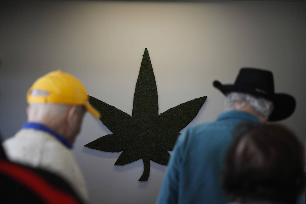 In this Tuesday, Feb. 19, 2019 photo, a group of seniors from Laguna Woods Village check in at Bud and Bloom cannabis dispensary in Santa Ana, Calif. With marijuana legalization sweeping the count ...
