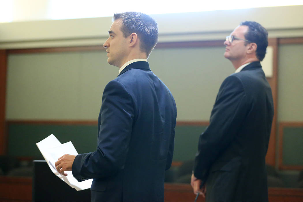 Attorneys Colin Esgro, left, and James Morgan, representing former Sen. Harry Reid, during a case update at the Regional Justice Center in Las Vegas on Feb. 20, 2019. Reid and his wife are suing t ...