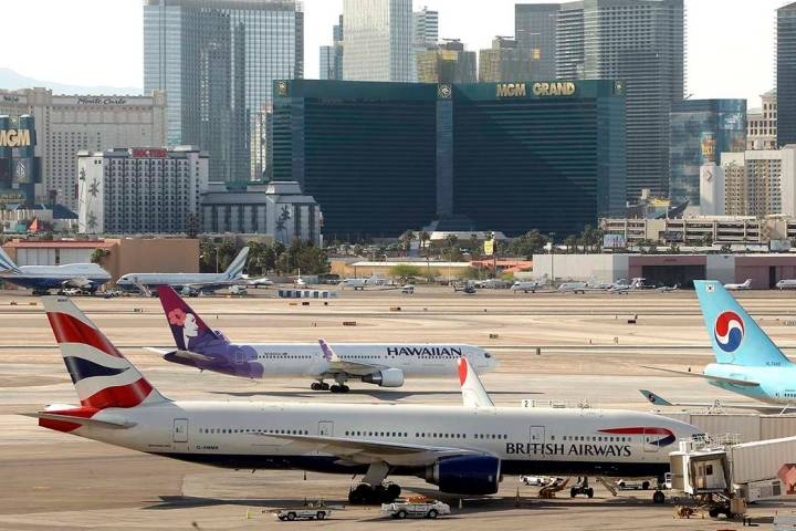 A British Airways jetliner is shown parked at a gate in the International Terminal at McCarran International Airport on Monday, April 19, 2010, in Las Vegas. (Las Vegas Review-Journal file photo)