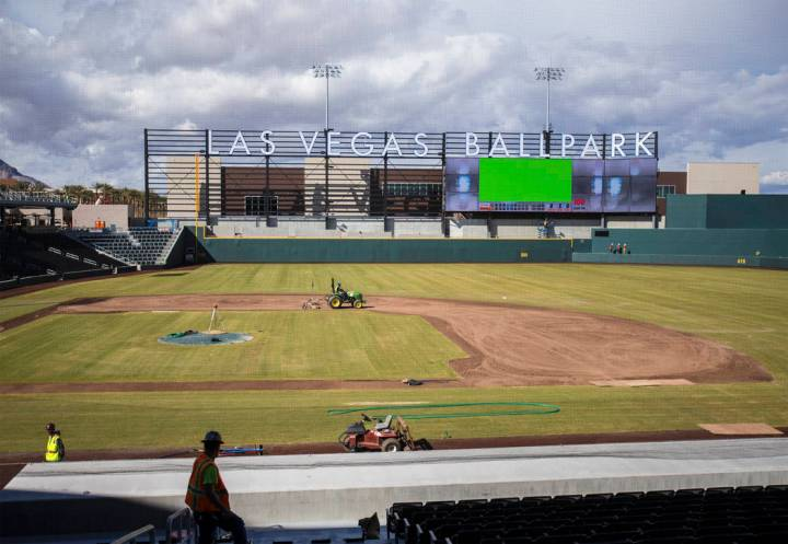 Work continues on Las Vegas Ballpark in anticipation of the home opener on April 9 for the Las Vegas Aviators on Thursday, March 21, 2019, in Las Vegas. (Benjamin Hager Review-Journal) @BenjaminHphoto