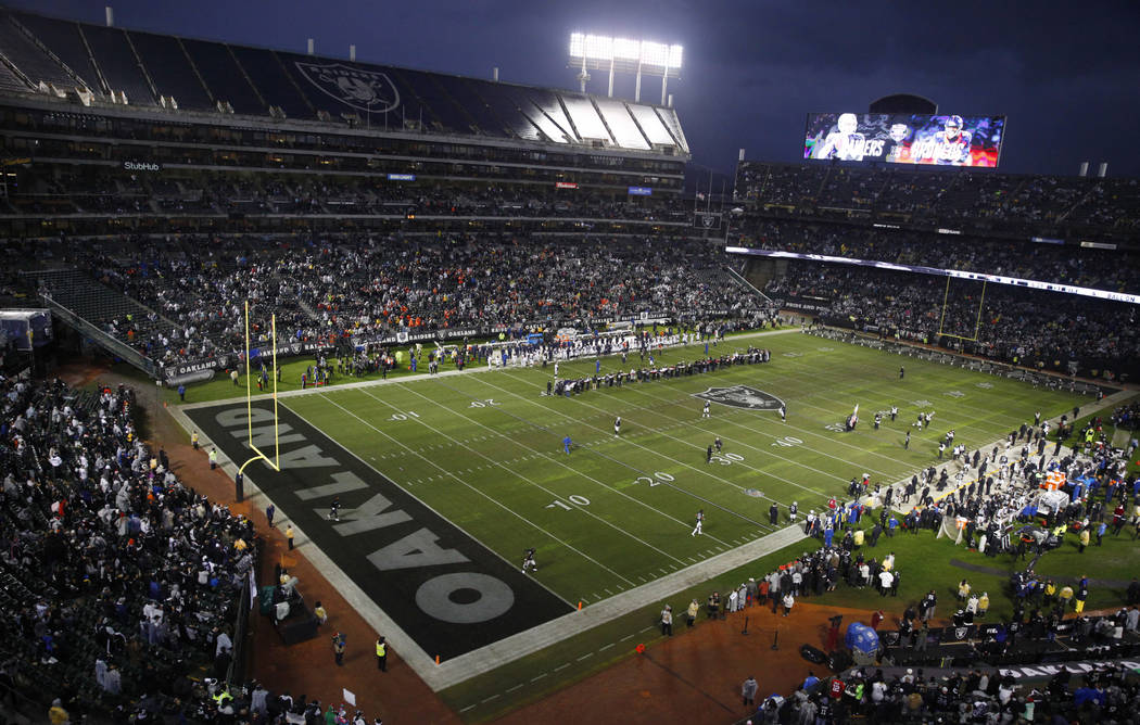 An overview of the Oakland-Alameda County Coliseum before the start of an NFL game between the Oakland Raiders and the Denver Broncos in Oakland, Calif., Monday, Dec. 24, 2018. Heidi Fang Las Vega ...