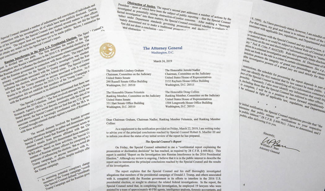 A copy of a letter from Attorney General William Barr advising Congress of the principal conclusions reached by Special Counsel Robert Mueller, is shown Sunday, March 24, 2019 in Washington. (AP P ...