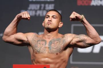 Anthony Pettis during the UFC 226 ceremonial weigh-in event at T-Mobile Arena in Las Vegas, Friday, July 6, 2018. Erik Verduzco Las Vegas Review-Journal @Erik_Verduzco