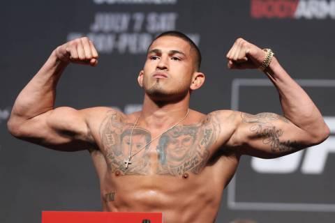 Anthony Pettis during the UFC 226 ceremonial weigh-in event at T-Mobile Arena in Las Vegas, Friday, July 6, 2018. Erik Verduzco Las Vegas Review-Journal @Erik_Verduzco