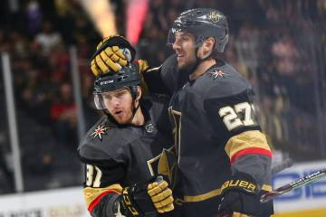 a2a47aff4 Golden Knights defenseman Shea Theodore (27) celebrates his goal with Golden  Knights center Jonathan