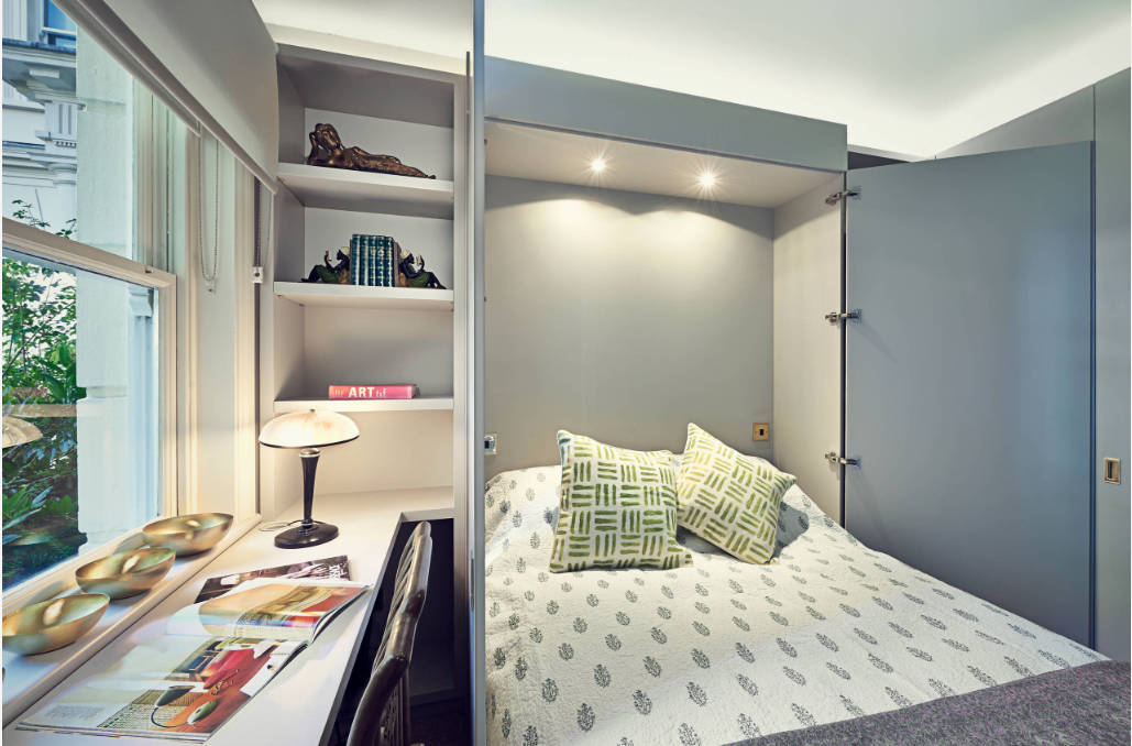 This opens up to become a sleeping space in your office for guests. When no one is there, it ju ...