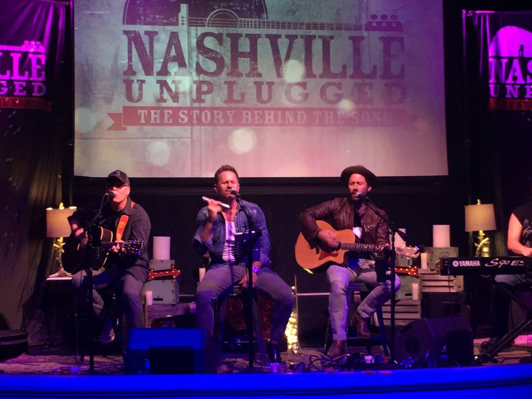 "Aaron Benward and Travis Howard are shown during ""Nashville Unplugged"" Mizuya Lounge at Mandalay Bay on Saturday, Oct. 6, 2017. (John Katsilometes/Las Vegas Review-Journal)"